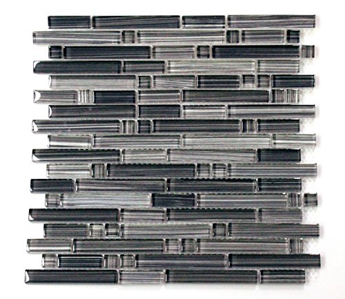 WS Tiles: Interlocking Handpainted Gray Mix Glass Mosaic, Backsplash, Mesh-Mounted Tile for Kitchen & Bathroom - 12 in x 12 in x 8mm (Pack of 7 12in x 12in -