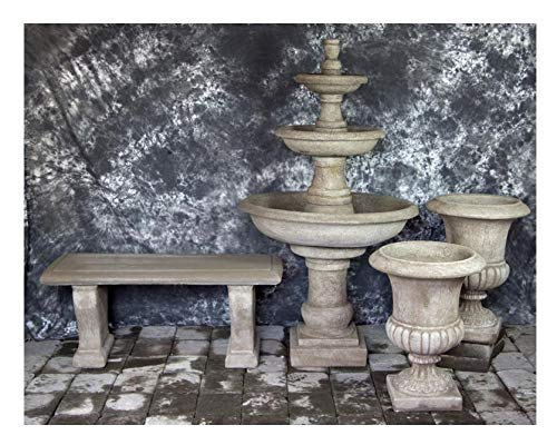 Fleur de Lis Garden Ornaments LLC Three Tier Renaissance Fountain with Italian Palazzo Urns and Bench Package Number 1025 ()