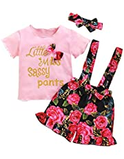 Kucnuzki Baby Girl Clothes Letter Print Sleeveless Vest Tops Ruffle Floral Shorts Set with Headband 3Pcs Infant Girl Summer Outfits