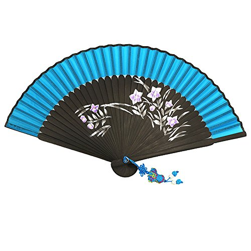 [Wise Bird Chinese Japanese Folding Hand Fan, Fashion Accessories Vintage Retro Style 8