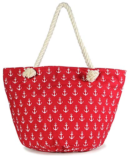 MIRMARU Women's Large Beach Bag Top Zipper Closure Tote with Braided Rope Handles and Inner Pocket (Anchor Pattern-Red)