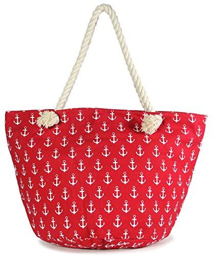 MIRMARU Women's Large Beach Bag Top Zipper Closure Tote with Braided Rope Handles and Inner Pocket (Anchor - Handle Bag Rope Beach