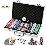 Texas Holdem Poker Chips Set,DOUBLEFAN Heavy Duty 11.5 Gram Clay Stirped Poker Chips Set with Aluminum Case for Blackjack Gambling, Set of 300 Chips