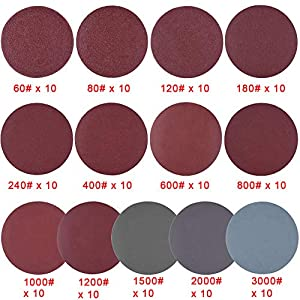 """SIQUK 130pcs 2 inch Sanding Discs Pad with 1pc 1/4"""" Shank Backing Pad and 1pc Soft Foam Buffering Pad for Drill Grinder (10pcs Each Grit - 60 80 120 180 240 400 600 800 1000 1200 1500 2000 3000)"""