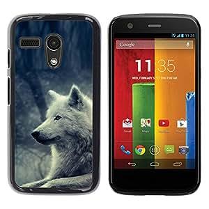 PC/Aluminum Funda Carcasa protectora para Motorola Moto G 1 1ST Gen I X1032 White Wolf Magical Forest Nature Dog / JUSTGO PHONE PROTECTOR