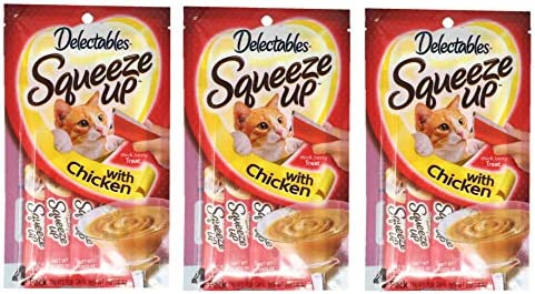 Delectables Squeeze Up Hartz Cat Treats Bundle of 3 Flavor Pouches, 2.0 oz Each