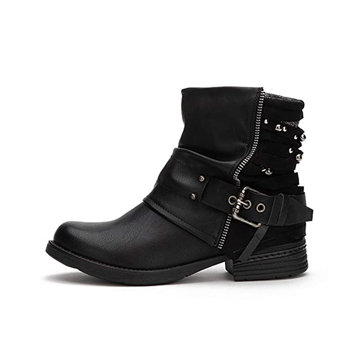 Amazon.com | Women PU Leather Zipper Ankle Boots Waterproof Buckle Strap Plush Mid Heel Casual Short Western Boots | Shoes