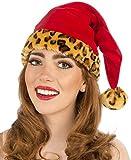 Forum Novelties Womens Santa Hat with Leopard Trim