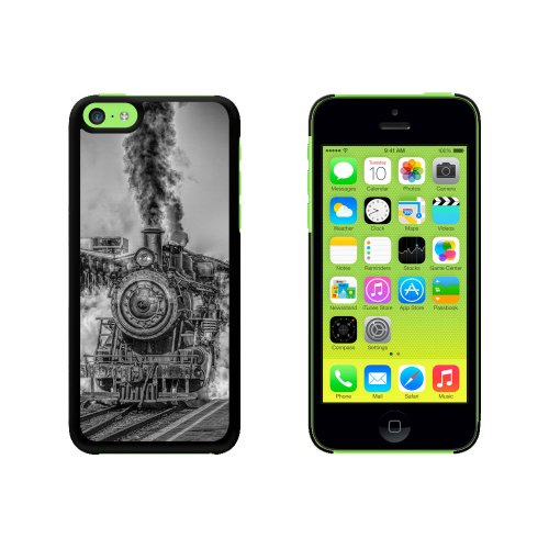 Steam Engine Locomotive Train Snap On Hard Protective Case for Apple iPhone 5C - Black (Telephone Locomotive)