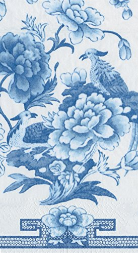 Entertaining with Caspari with Paper Guest Towels, Blue and White, 15-Pack - Napkins Guest Blue