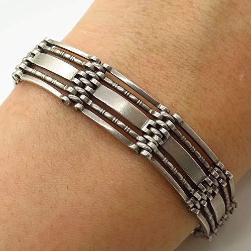 Antique Europe Signed 800 Silver Wide Gate Link Bracelet 7