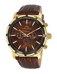 Porsamo Bleu NYC Genuine Leather Gold Tone & Brown Men's Watch 051CNYL