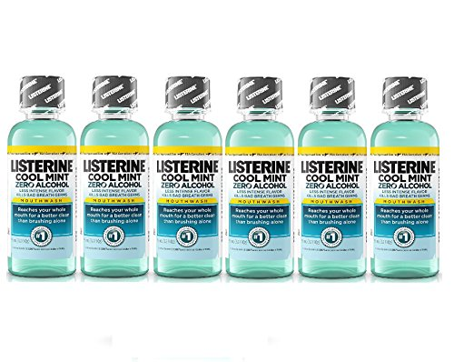 Listerine Cool Mint Zero Alcohol Mouthwash, Travel Size 3.2 Ounces (95ml) - Pack of 6