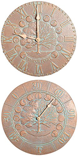Whitehall Times & Seasons Clock and Thermometer Kit, Copper Verdi