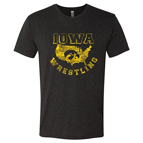 Iowa Hawkeyes USA Wrestling Triblend T Shirt - Large - Vintage Black (Iowa High School Wrestling Tournament On Tv)