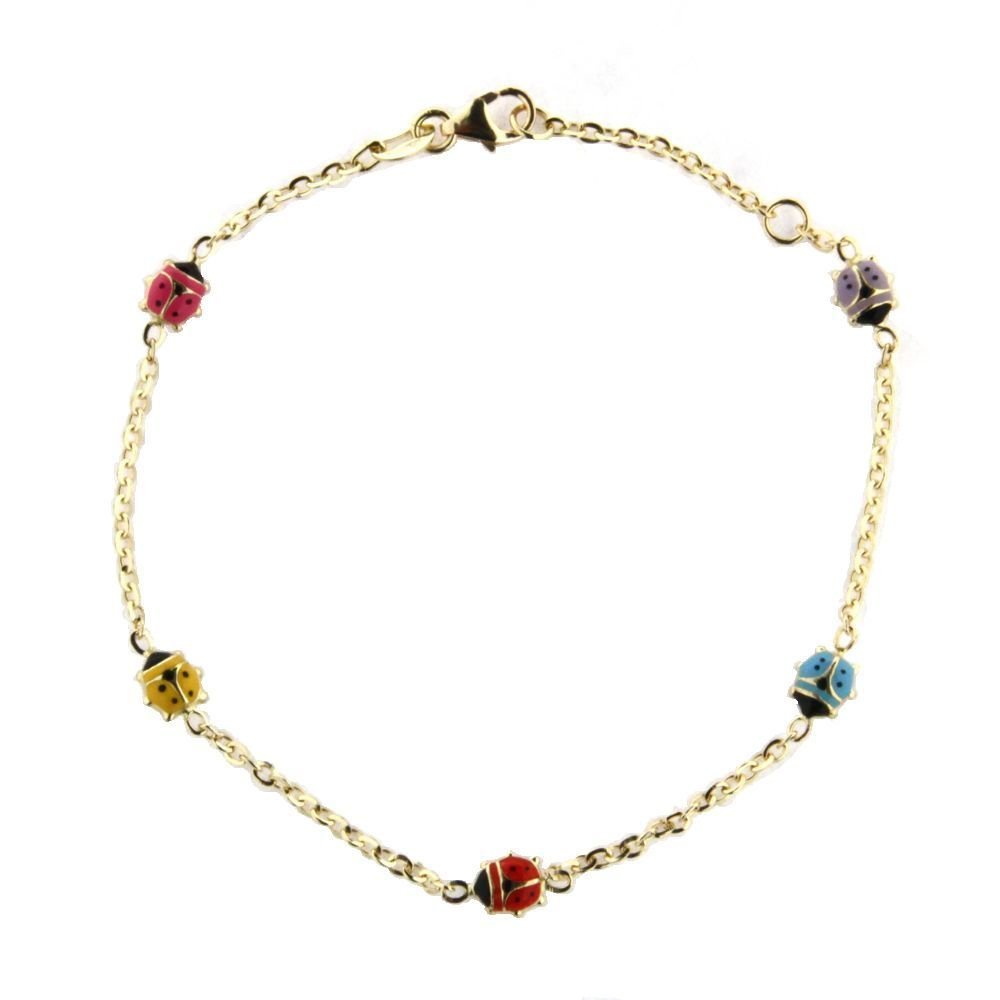 18K yellow gold multi color enamel lady bug bracelet 6 inches in line.