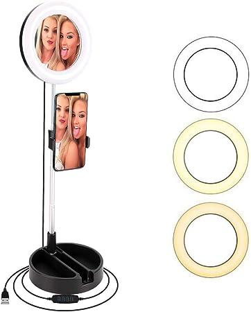 "Todo para el streamer: BLOOMWIN Luz de Anillo LED Regulable 6"" con Espejo de Maquillaje Soporte para Móvil de Mesa Altura Ajustable con 3 Modos Profesional Plegable USB para Youtube Disparo Selfie Video Maquillaje Tiktok"