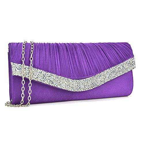 (Dasein Women's Satin Pleated Evening Bags Rhinestone Accented Flap Clutch Purses with Silver Chain Strap Purple)