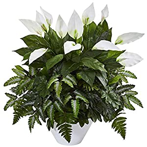 Nearly Natural 8416 Mixed Spathiphyllum Artificial White Vase Silk Plants Green 93