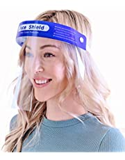 【10 pack】Simsii Face Shields, Reusable Clear Double side Anti Fog,0.25mm Plastic, General Use Visor Mask, Splashproof Windproof Dustproof, Protect Eyes and Faces for Adults and Kits