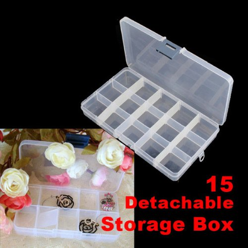 Ace Nails (ACE 15 Detachable Clear Plastic Divided Storage Box Rhinestone Nail Art)