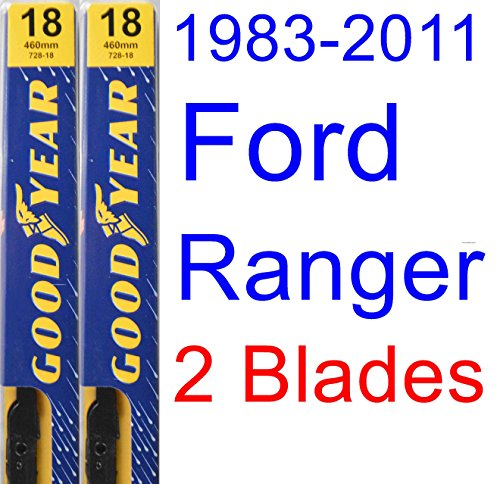 Blades Ford Ranger Wiper (1983-2011 Ford Ranger Replacement Wiper Blade Set/Kit (Set of 2 Blades) (Goodyear Wiper Blades-Premium) (1984,1985,1986,1987,1988,1989,1990,1991,1992,1993,1994,1995,1996,1997,1998,1999,2000,2001,2002))