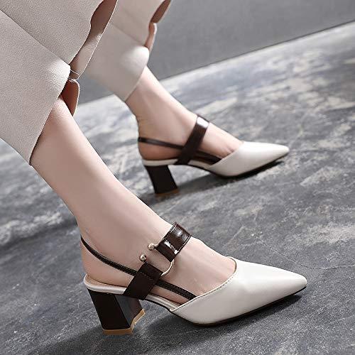 Yukun alto Salvajes Punta De Altos Retro Noche De con Zapatos Mujer De de Creamy Zapatos con zapatos Medio White Tacones tacón Tacón rHwt0rq