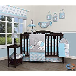 Boutique Baby Blizzard Blue Grey Elephant 13 Piece Nursery CRIB BEDDING SET