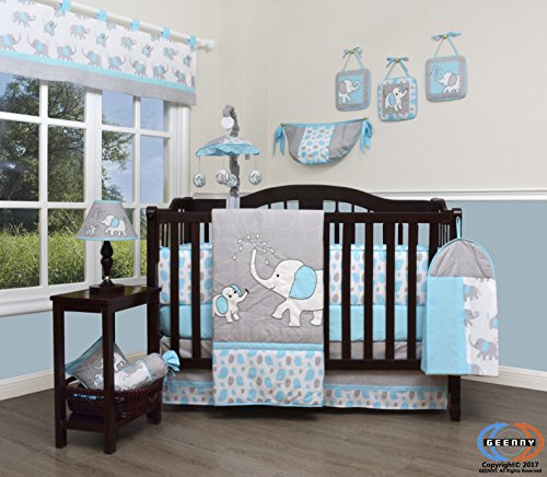 GEENNY Boutique Baby 13 Piece Nursery Crib Bedding Set, Blizzard Blue Grey Elephant (Baby Crib Bedding Sets Elephant)
