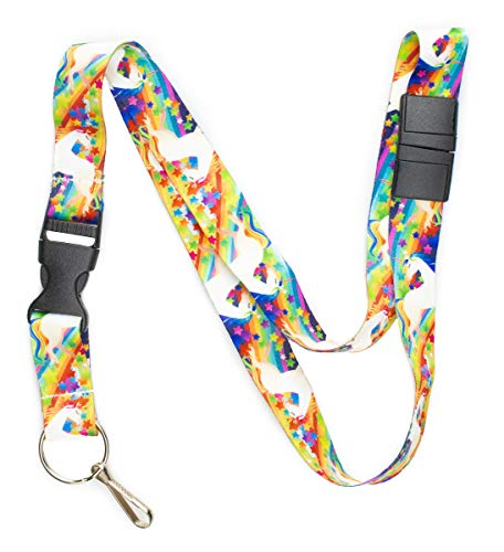 (Limeloot Rainbow Unicorn Premium Lanyard with Breakaway, Release Buckle, and Flat Ring.)