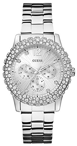 GUESS Women's U0335L1 Silver-Tone Multi-Function Watch with Genuine Crystal (Guess Crystal Accent Multifunction Watch)