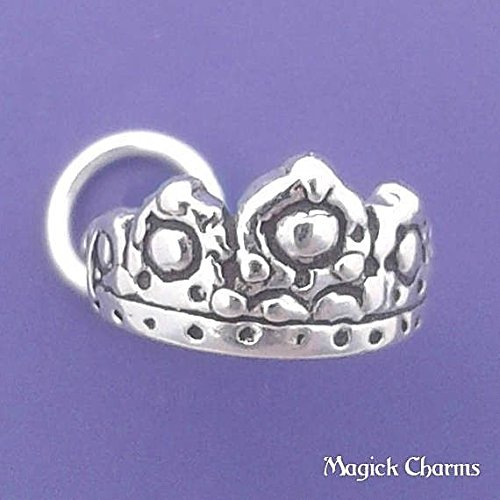925 Sterling Silver Tiara Charm Princess Crown Small 3-D Pendant Jewelry Making Supply, Pendant, Charms, Bracelet, DIY Crafting by Wholesale Charms