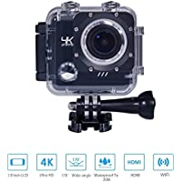 Matego Underwater Camera WiFi 4K Action Camera with Sony Sensor 16MP 170 Degree Viewing Angle Lens 2 Inch Screen for Outdoor Sports Recording
