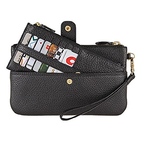 Lodis Olivia Italian Leather Wristlet & Card Stacker, BLACK