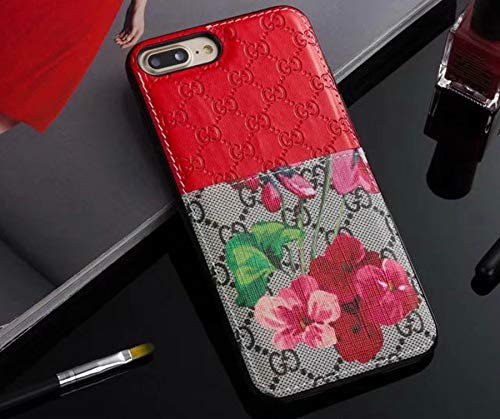 IPhone7Plus/8Plus Case - New Elegant Luxury PU Leather Classic Style Protect Cover Case Compatible Apple iPhone7Plus/8Plus Only(Red Flower)