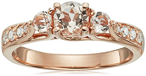 10k Rose Gold Morganite Ring with Diamond Ring, Size 7 by Amazon Collection