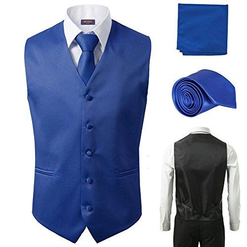 Paisley Hankie - Sugo 3 Pcs Vest + Tie + Hankie Royal Blue Fashion Men's Formal Dress Suit Slim Tuxedo Waistcoat Coat (X-Large)