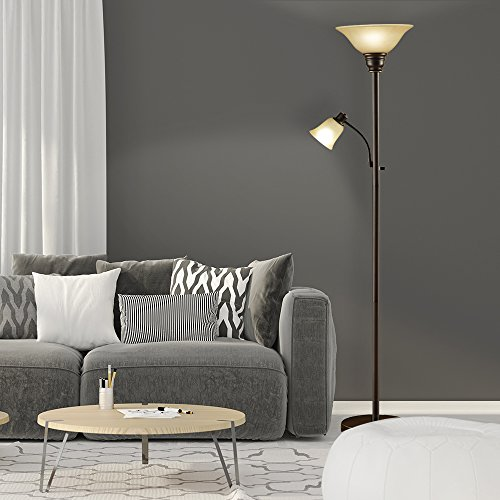 """Catalina Lighting 18223-002 Transitional Metal Uplight Floor Lamp with Reading Light and Glass Shades, 71"""", Bronze"""