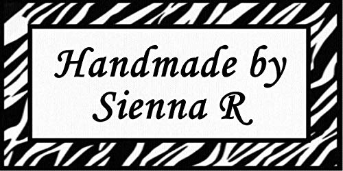 Zebra Media Labels - Zebra Print - Cotton Fabric Labels for Handmade Items/Customized Garment Clothing Size Fabric Labels/Personalized Printed Fabric Sew Tag Labels/Quilt, Crochet, Knit, Sewing - Made in USA