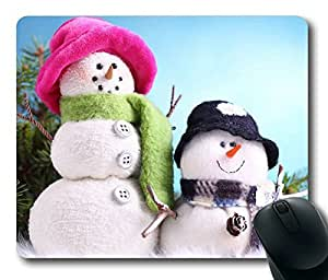 Animated Christmas Cute Snow Man Oblong Mouse Pad by Cases & Mousepads