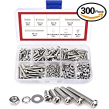 Hilitchi 300-Piece M4 Phillips Pan Head Screws Bolt Nut Lock Flat Washers Assortment Kit, 304 stainless steel (M4)