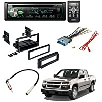 CHEVROLET 2004 - 2012 COLORADO CAR STEREO CD PLAYER DASH INSTALL MOUNTING KIT WIRE HARNESS RADIO ANTENNA W/ Pioneer DEH-X4900BT Vehicle CD Digital Music Player Receivers, Black