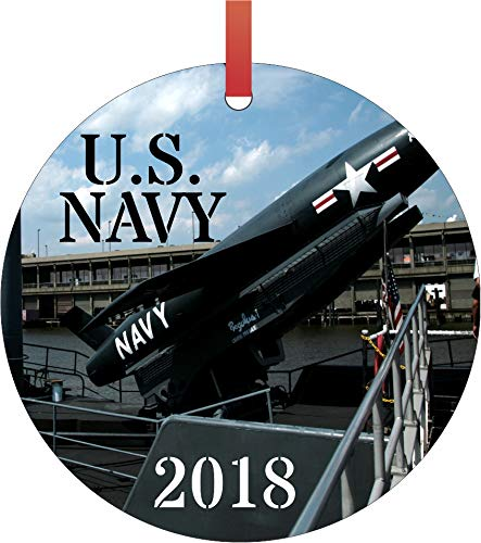 Rosie Parker Inc. U.S. Navy 2018 Semigloss Flat Round Shaped Ornament Xmas Tree Christmas Décor - Christmas Room Décor and Ornament Yard Decorations