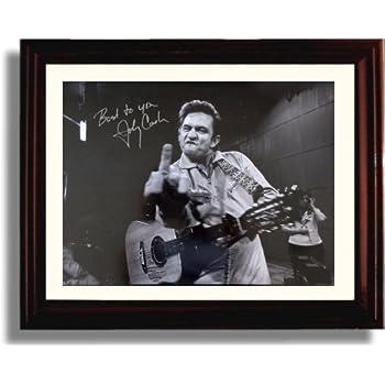 Amazon.com: FRAMED Johnny Cash (Middle Finger) At San ...