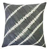 Vivai Home Grey Diagonal Tie Dye Pattern 18x 18 Square Cotton Feather Pillow