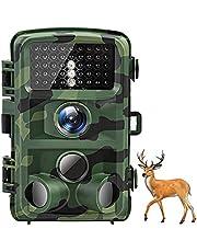 AKASO Wildkamera 16MP 1080P Nachtsichtgerät IP66 Wasserdicht Beutekamera Jagdkamera mit Bewegungssmelder 120° Erfassungswinkel für Überwachung Garten Haus Wildtiere (TC05)