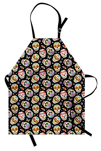 Lunarable Skull Apron, Mexican Style Cheerful Pattern Day of The Dead Hearts Stars, Unisex Kitchen Bib with Adjustable Neck for Cooking Gardening, Adult Size, Black and - Dead Apron