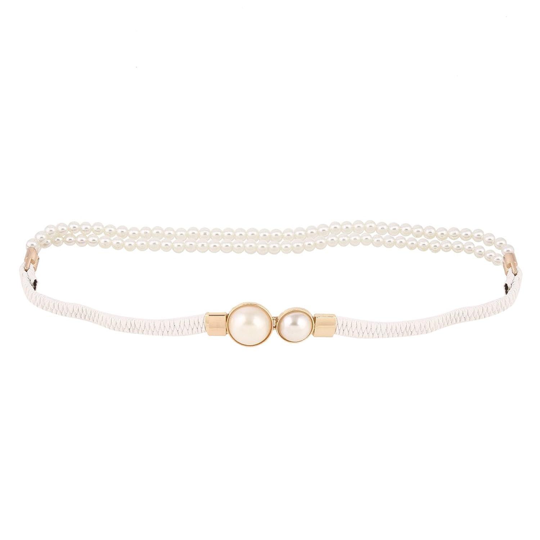 Damara Damen Schöne Lange Gummilitze Taillengürtel Mit Kunstlicher Perle