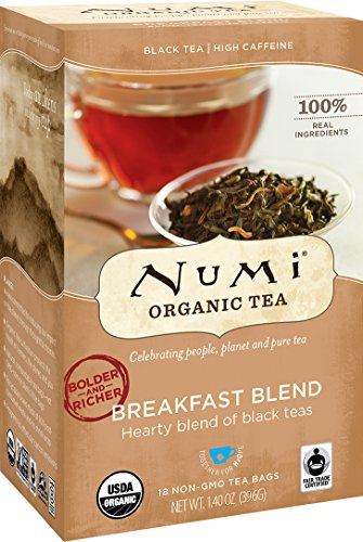 Numi Organic Tea Breakfast Blend, Black Tea Bags, 18 Count, Pack of 3