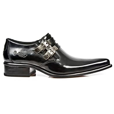 NewRock New Rock 2246-S20 Black Smart Patent Leather West Steel Buckle Shoes